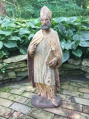 "18th Century Polychrome & Partial Gilt Santos Carving of St. Ambrose, 33"" Tall"
