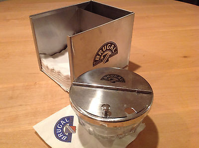Brugal Rum Advertising Stainless Steel Napkin Caddy with Glass Dispenser /Tongs