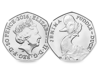 50p UNCIRCULATED coin Jemima Puddle Duck 2016 Beatrix Potter