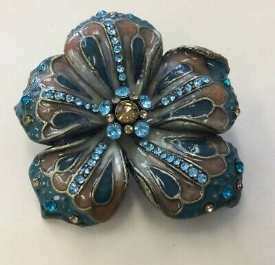 Antiqued Gold Tone Large Enameled & Rhinestone Floral Fashion Pin JB56