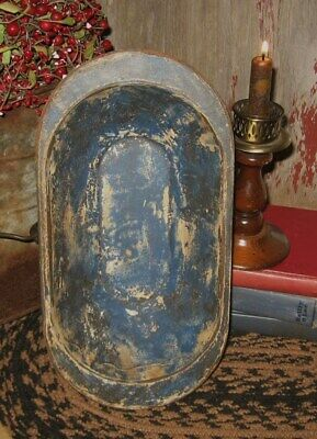 Wood Dough/Candle BOWL*BLUE*Primitive/French Country Farmhouse Kitchen Decor