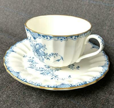 Royal Worcester MANSFIELD BLUE Tea Coffee Cup Saucer Floral White Gold - 9 AVAIL