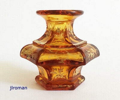 ANTIQUE c1840 BOSTON & SANDWICH or BACCARAT GILDED FLINT GLASS PERFUME BOTTLE