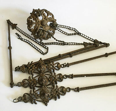 Antique Victorian Cast Iron Hanging Hall Lamp Parts * No Reserve!!