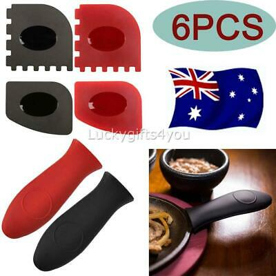 6 Pack Durable Grill Pan Scrapers Silicone Hot Handle Holder for Lodge Cast Iron