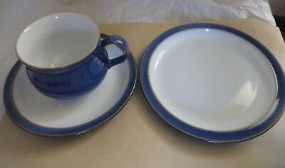 Denby Imperial blue trio cup saucer side plate stoneware England