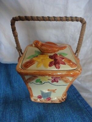 Wade Heath ceramic biscuit pot bird lid cane handle vintage