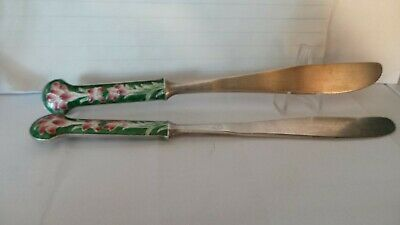 a pair 925 sterling silver butter knife cloisonne
