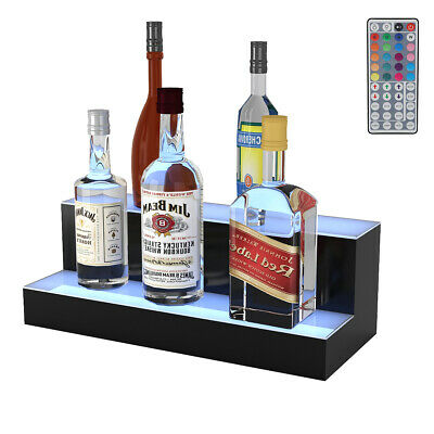 "20"" 2 Step LED Lighted Liquor Bottle Display Illuminated Bottle Shelf Home Bar"