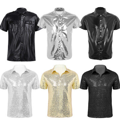 Mens Shiny Leather Undershirt Sparkle Sequins Turn-down Collar T-shirt Tops Club