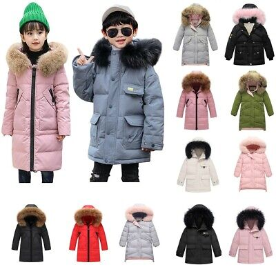 Winter Girls Kids Boy Hooded Long Parka Padded School Quilted Coat Jacket Puffer