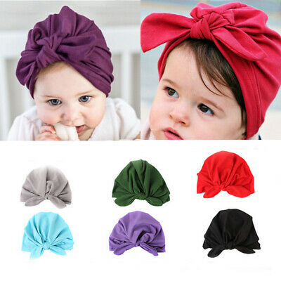 Baby Girl Cute Infant Bowknot Hat Toddler Soft Cotton  Beanie Hat Solid