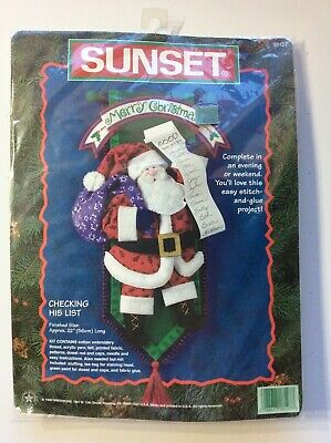 """SUNSET   SANTA """"Checking his List""""   Finished Size: Approx. 22"""""""