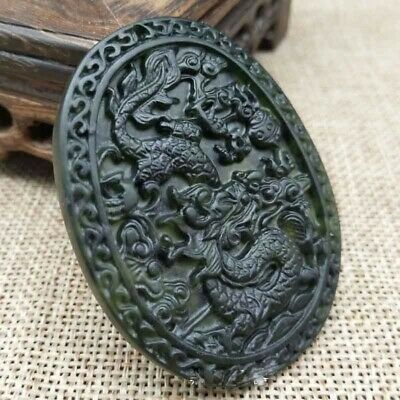 1PC Chinese Natural Black Green Jade Dragon Hand Carved Jade Pendant Amulet New