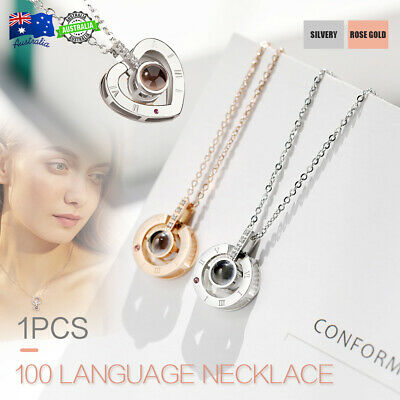 I love you in 100 languages Projection  Pendant Necklace Women Lover Girl Gift