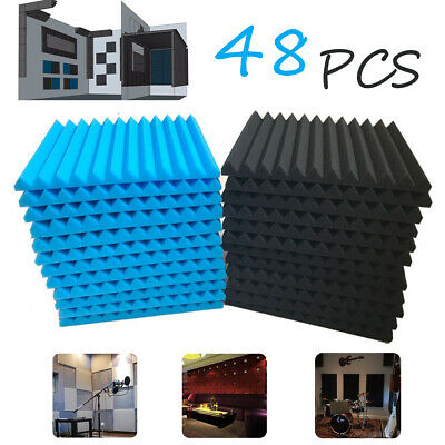 48pcs Blue & Black Studio Soundproofing Acoustic Wedge Foam Tiles Wall Panel
