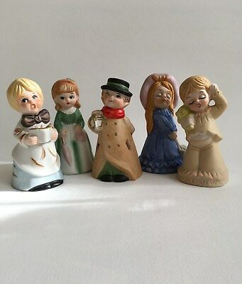 Bond Ware Vintage Bisque Porcelain Christmas Bell Figurines Handpainted Set of 5