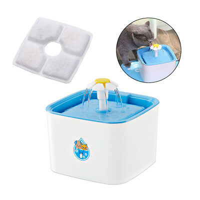 Pet Bowl Dish Filter Dispenser Automatic Cat Dog Water Fountain Drinking Feeder