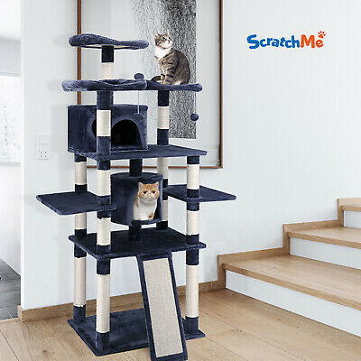 "ScratchMe 67"" Pet Cat Tree Play House Tower Condo Bed Scratch Post w/ Toy Balls"