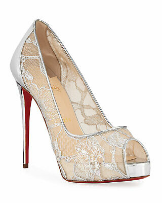 pretty nice e09ea 60d26 CHRISTIAN LOUBOUTIN VERY LACE Silver Patent Leather Pumps 40.5 Shoes Heels