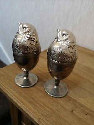 Unique Unusual Silver Plated Metal Chicken Egg Cup Holders with Covers