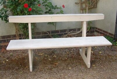 Vintage Rustic BENCH / PEW  solid walnut  later painted  great unusual   design