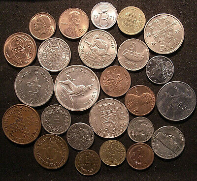 World Coins - 25 coins inc 2 silver - Australia, Asia/Oceania, USA, Europe