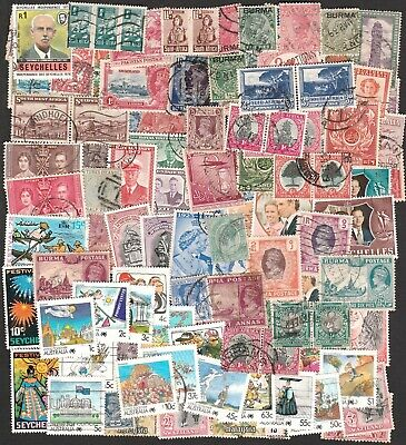 British Colonies & Commonwealth Large Collection Of Vintage Stamps (100)
