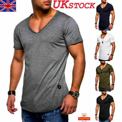 Mens Muscle Fittness V Neck Plain Shirt T-Shirt Casual Sports Tee Tops Blouse