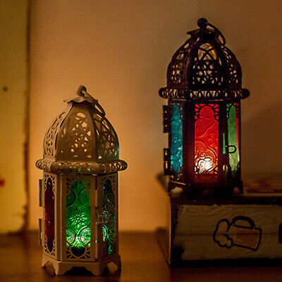 Moroccan Style Gl Lanterns Lamp Metal Tea Light Candle