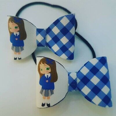 School Hair Bow Bobbles (Brown Hair) -Gingham Check Red/Green/Burgundy/Blue