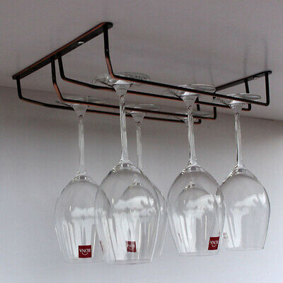Stainless Steel Bar Pub Cabinet Wine Glass Hanging Holder Rack Stemware Durable