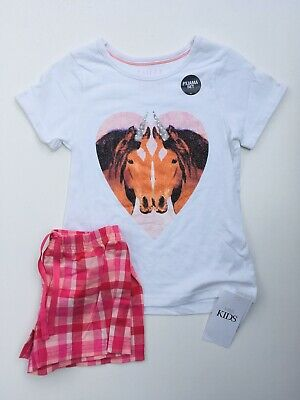NEW Girls Short Pyjama Set Sleepwear Horse Print Ex M&S Age 6-7 Years
