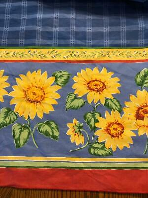 New Blue Plaid Tablecloth with Sunflower Side Borders - 60 x 82 Oval
