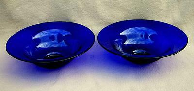 Pair Of Large Antique Victorian English Bristol Blue Cobalt Glass Fruit Bowls