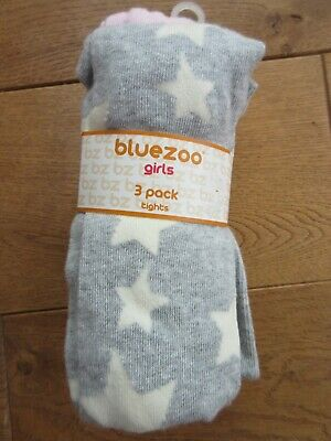 Brand New Bluezoo Girls Pink and Grey Star Tights  (3 Pack) Age 7- 8 BNWT