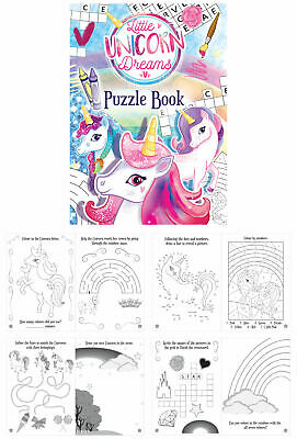 Mini Children's Unicorns Colouring Puzzle Book Activity Girls Kids Crossword