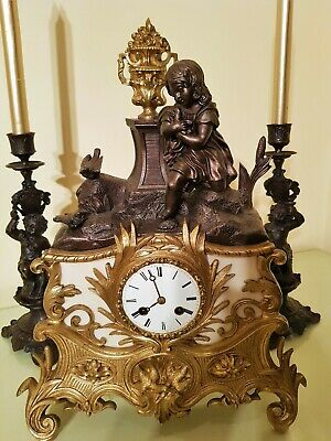Antique French Ormolu & Bronze Figural Mantel Clock.