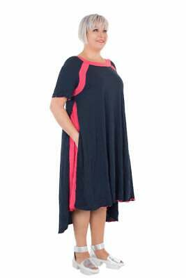 RRP £165 OBLIQUE CREATIONS Crushed Jersey Navy-Pink Dress SIZE 3/L