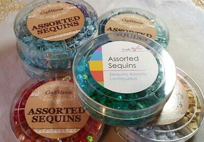 6 Assorted Tubs Of Assorted Sequins. 4 Colours Per Tub