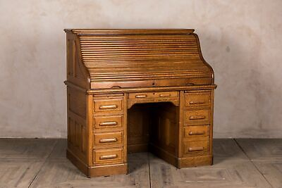 Edwardian Oak Roll Top Desk Antique Writing Desk