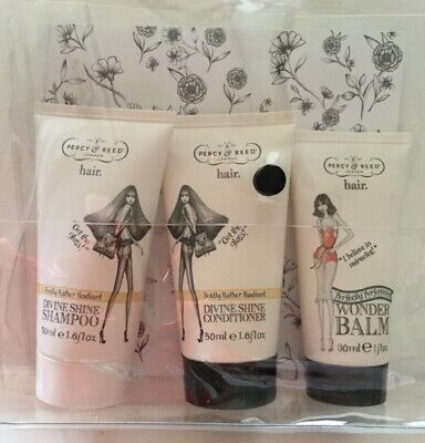 Percy & Reed Shampoo Conditioner & Wonder Balm Travel Sizes In A Clear Pouch