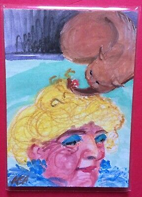 SUMMER CLEARANCE BAD KITTY 'Blonde Wig' painting signed original ACEO