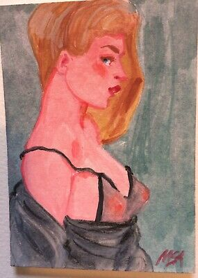 SUMMER CLEARANCE BOUDOIR 'Black Velour' signed original painting fashion ACEO