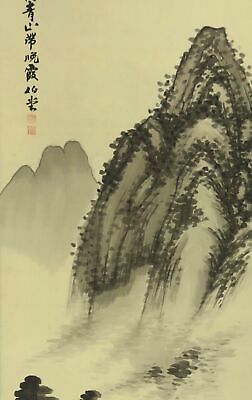 JAPANESE PAINTING HANGING SCROLL JAPAN LANDSCAPE ANTIQUE Old Art PICTURE 168m