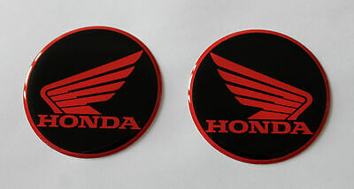 Honda Wings stickers/decals - 45mm Red on Black - HIGH GLOSS DOMED GEL FINISH