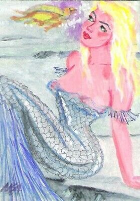 SUMMER CLEARANCE 'Mermaid Turtle Surprise' ACEO signed original painting