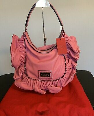 New Valentino  Pink Nappa Leather Ruffled Shoulder Bag Nwt  $2295