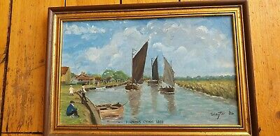 Vintage Oil Painting On Board Signed  Slater Horning Quay Seascape Nautical