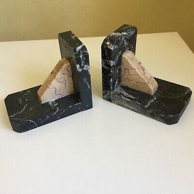 Pair Vintage French Marble Bookends
